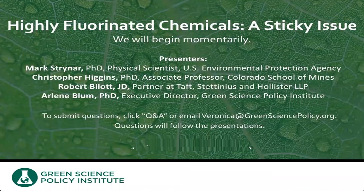 Webinar: Highly Fluorinated Chemicals: A Sticky Issue
