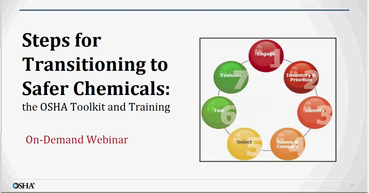 Steps for Transitioning to Safer Chemicals: the OSHA Toolkit and Training